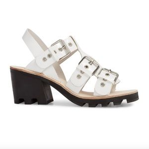 Jeffrey Campbell Lugged White Heeled Sandals